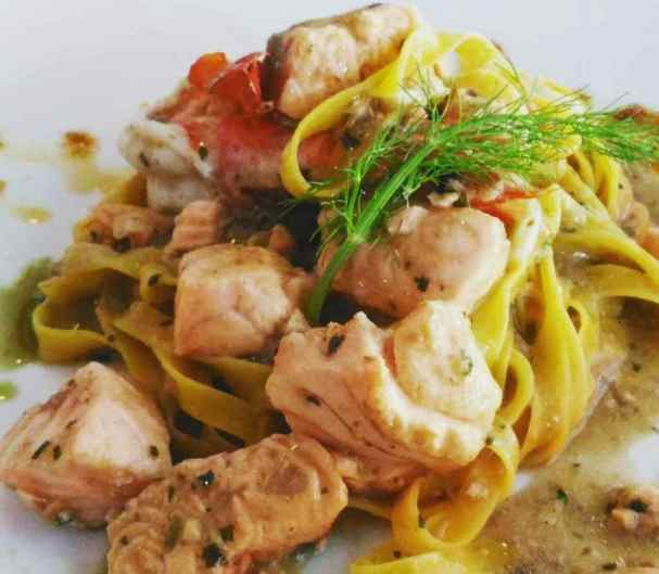 Seafood Linguine with Salmon and Prawns