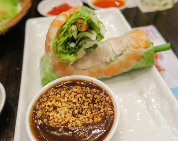 The rice skin for the summer rolls were ideally thin with lavish ...