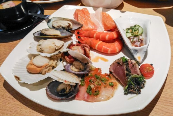 My plate of seafood and fish - yummy!